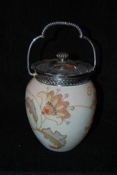 Beautiful MT Washington Crown Milano Decorated Biscuit Barrel Jar 1880'S   eBay