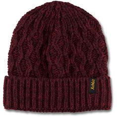 Dr. Martens Heavy Gauge Beanie ($48) ❤ liked on Polyvore featuring accessories, hats, beanies, red, cable knit hats, cable hat, chunky beanie, acrylic beanie and acrylic hat
