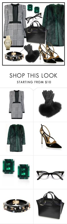 """""""In the Office"""" by elenzark ❤ liked on Polyvore featuring Balmain, AGNELLE, Dries Van Noten, Sergio Rossi, CARAT* London, Chanel, Victoria Beckham and Michael Kors"""