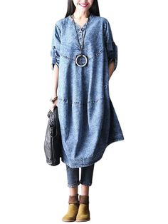 O-Newe Plus Size Women Loose Long Sleeve Denim Dress