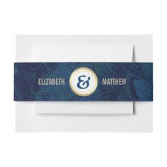 Blue Floral Pattern | Gold Foil personalized Wedding Invitation Belly Bands with Custom Bride's and Groom's monograms. Matching Wedding Invitations, Bridal Shower Invitations, Save the Date Cards, Wedding Postage Stamps, Bridesmaid to be Request Cards, Thank You Cards and other Wedding Stationery and Wedding Favors and Gifts available in the Exotic Design Category of the Best Day Ever store at zazzle.com Whimsical Wedding Invitations, Bridal Shower Invitations, Wedding Stationery, Wedding Favors, Wedding Postage Stamps, Exotic Wedding, Belly Bands, Gold Pattern, Wedding Matches