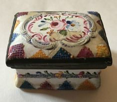Antique 19th c. Bilston Battersea Enamel Patch Pill Box Snuff Rose Quilt #Regency #BatterseaBilston