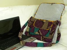 African Fabric Quilted Laptop Bag...  Use code HJ0422 when ordering to provide free supplies  to patients!!