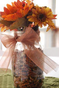 Wedding decorations. Fall wedding #fall #wedding #masonjar maybe with little seashells, purple bow and sunflower daisy real flower mix