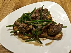 Chicken Liver and French Bean Salad in a Shallot and White Wine Reduction