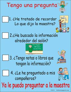 What to do before asking the teacher a question - en español by andrea Classroom Signs, School Classroom, Teaching English, Learn English, Accountable Talk Posters, Dual Language Classroom, Bilingual Education, Reading Workshop, Teacher Hacks