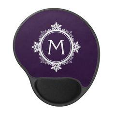 Snowflake Wreath Monogram in Dark Purple & White Gel Mouse Mat