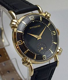 Stunning-Deco-1940s-WITTNAUER-Knotted-Lugs-Black-Dial-Mens-Watch on ebay
