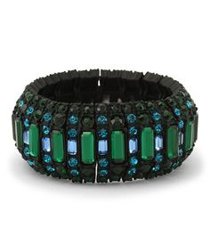 Love this Green & Black Stretch Bling Bracelet on #zulily! #zulilyfinds