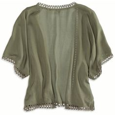 American Eagle Open Kimono Top ($35) ❤ liked on Polyvore featuring tops, jackets, jersey top, viscose tops, green jersey, green kimono and kimono top