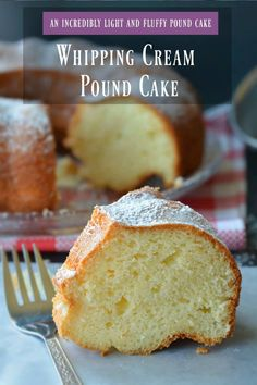 Super Moist Whipping Cream Pound Cake- A Buttery Pound cake With A Beyond Divine Creamy Consistency Center ! Pound Cake Recipes, Easy Cake Recipes, Best Dessert Recipes, Cupcake Recipes, Easy Desserts, Sweet Recipes, Baking Recipes, Delicious Desserts, Pound Cakes