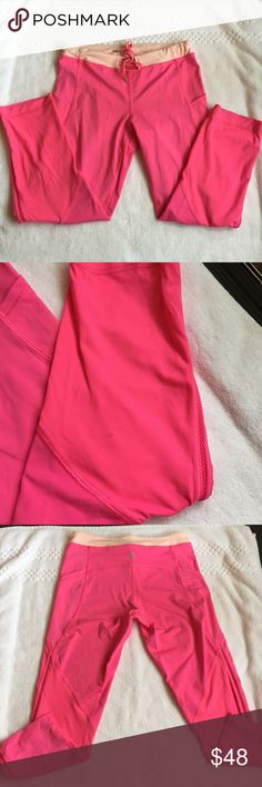 Lululemon hot pink skinny crops Lululemon hot pink skinny cropped leggings size 4 runs small closer to a 0-2 great condition  no fuzzing one small stain shown in a couple of pics on the back leg part it may come out I haven't messed with it lululemon athletica Pants Leggings