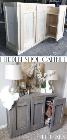 DIY Hidden Shoe Cabinet that doubles as a living room cabinet/console - Schuh schrank Living Room Cabinets, Living Room Kitchen, Diy Kitchen, Kitchen Storage, Living Rooms, Diy Furniture Projects, Home Furniture, Furniture Refinishing, Wood Projects