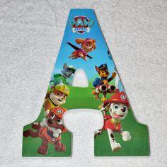 """Letras de madera personalizadas o números colgante patrulla pata madera carta número signo 9"""" cumpleaños personalizadas fiesta centro de mesa"""