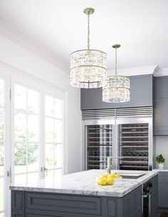 6 Light Pendant in Winter White from the Serena Collection by Capital Lighting. Kitchen Island Bench, Kitchen Benches, Luz Natural, Custom Lighting, Lighting Design, Lighting Ideas, Phillips Lighting, Hamptons Kitchen, Kitchen Pendant Lighting