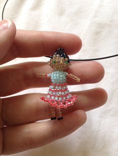 Blue and Pink Girl Doll Seed Bead Beaded Bead Pendant Necklace