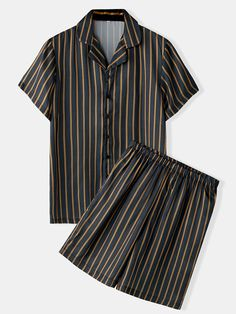 Specification :Color: BlackSize: Cotton,PolyesterPattern: StripedStyle: Casual,HomeThickness: ThinSeason: Spring, Summer,FallItem Type: SetsCustomer Age: Years Package included: Note: see the Size Reference to find the correct size. Cute Pajama Sets, Cute Pajamas, Black Pajamas, Pyjamas, Satin Pajamas, Teen Fashion Outfits, Casual Outfits, Loose Shirts, Two Piece Outfit