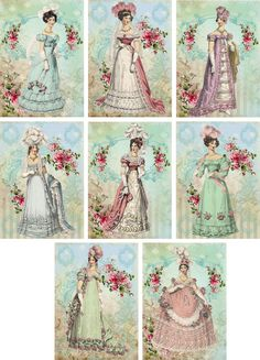 Vintage Jane Austen quotes small note cards tags ATC set of 8