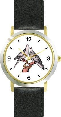 Lovebirds or Love Birds - Love & Friendship Theme - WATCHBUDDY® DELUXE TWO-TONE THEME WATCH - Arabic Numbers - Black Leather Strap-Children's Size-Small ( Boy's Size & Girl's Size ) WatchBuddy. $49.95
