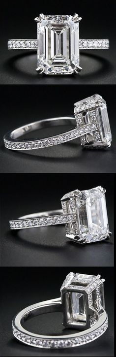 4.00 carat emerald-cut diamond engagement ring. Via Diamonds in the Library.