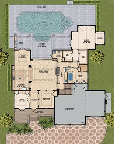 Mediterranean Style House Plan - 4 Beds 4.5 Baths 4513 Sq/Ft Plan #548-14 Floor Plan - Main Floor Plan - Houseplans.com