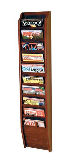 Wooden Mallet 10 Pocket Magazine Wall Rack in Dark Red Mahogany Rack Shelf, Wall Racks, Magazine Wall, Magazine Holders, Magazine Racks, Display, Pocket, Storage, Wood