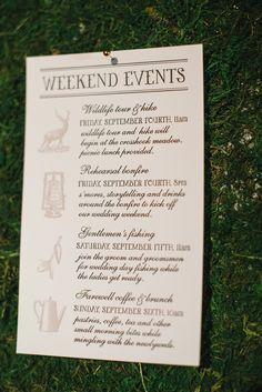 Wedding weekend itinerary.  The Aerialist Press. Photography: Delbarr Moradi - delbarrmoradi.com  Read More: http://www.stylemepretty.com/2014/01/31/woodland-wedding-inspiration-wiup/