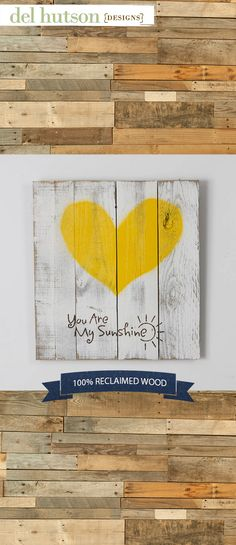 """Lighten up your home with this super cute sign! This sign is made 100% out of reclaimed wood and features a happy yellow heart with the phrase """"You Are My Sunshine"""" and a stylized sun on a shabby chic white background. We use old fence wood to create each beautiful piece. The item is handmade in the USA."""