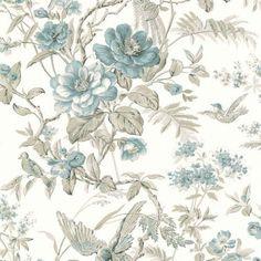 Elizabeth Teal Wildflower Trail Wallpaper FD21530 | D. Marie Interiors