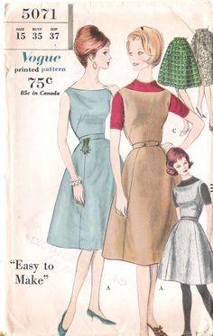 Uncut  Vintage Vogue Sewing Pattern  1960's by GrandmaMadeWithLove, $8.98