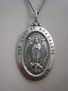 Vintage Sterling Silver Our Lady of Guadalupe Religious Medal Necklace