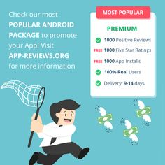 Check our most popular Android package to promote your App! Visit App-Reviews.org for more information! #appreviews #app #promotion #ios #android #mobile #mobilemarketing #appmarketing #appdevelopment #playmarket #appstore #users #mobileapps #reviews