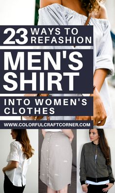Learn how to refashion a men's button up shirt into women's clothes. Turn one of your husband's shirt into a tunic top, dress, or skirt with these fantastic shirt upcycle tutorials. #shirtrefashion #upcycling #DIYclothes Women's Clothes, Sewing Clothes, Refashioning Clothes, Clothes Refashion, Shirt Alterations, Shirt Makeover, Dress Shirts For Women, Clothing Hacks, Couture