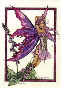 Foxglove Flower Faerie Fairy Postcard Faery Post Card Amy Brown | eBay