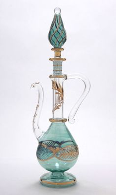 """Egyptian Perfume Bottle - Blown Glass - Green Teapot - 9.5"""" -Hand Etched 320-26"""