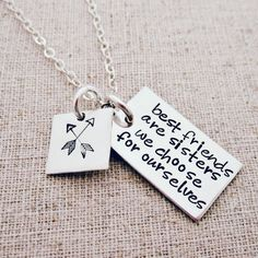 Best Friends Necklace   Gift for Best Friend   Hand Stamped   Hip Mom Jewelry