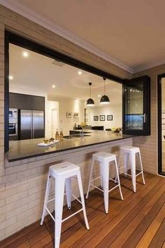 Before starting to remodeling a kitchen, ones need to think carefully about many aspects, including the design, budget, and get some tips or inspirations. Simple Kitchen Design, Kitchen Room Design, Living Room Kitchen, Kitchen Layout, Home Decor Kitchen, Interior Design Kitchen, Home Kitchens, Kitchen Window Bar, Indoor Outdoor Kitchen