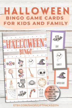 Printable Halloween Bingo Cards - This Halloween Bingo Game is a ton of fun for kids! Perfect for families, classrooms, Halloween parties, and more! Our instant download printable Halloween Game for Party contain 24 unique cards, calling and markers. Halloween Bingo Cards, Halloween Games For Kids, Halloween Parties, Halloween Crafts, Educational Activities For Kids, Indoor Activities For Kids, Printable Bingo Games, Printables, Valentine Bingo