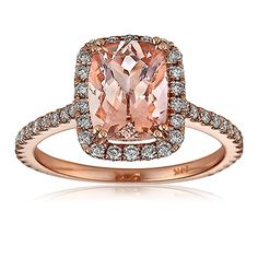 Morganite center stone rose gold and diamonds