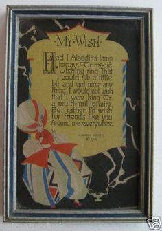 """Art Decco Buzza Motto Print"""" My Wish"""""""