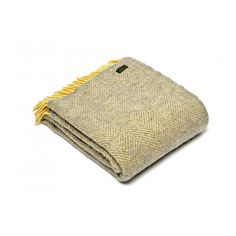 Tweedmill Grey/Lemon Herringbone Pure Wool Throw at Black by Design