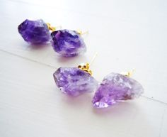 Raw Amethyst Crystal Stud Earrings by NaturalGlam on Etsy, $25.00