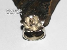 Handmade Silver Flower Ring, Sterling Bloom Ring, Flower Petals Ring, Engagement Rring, Thick Band Ring