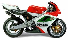 Bimota 500 V-due. 500cc 2-stroke EFI twin. The bike that bankrupted Bimota. Design flaws and engine problems reduced the volume to a scant few. An Italian firm is still selling a few to wealthy connoisseurs but with carburetor, not EFI