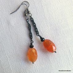 Sooty Black Chain & Faceted Orange Stone by StoneBoneAndButton, $15.49