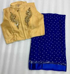 Blouse size: 36+2 inches, Sleeves inside (same fabric of blouse), Only dry wash.