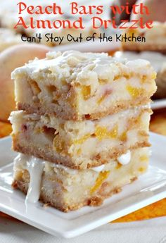 Bars with Almond Drizzle Peach Bars with Almond Drizzle Recipe ~ a spectacular combination of flavors.Peach Bars with Almond Drizzle Recipe ~ a spectacular combination of flavors. Fruit Recipes, Baking Recipes, Sweet Recipes, Cookie Recipes, Dessert Recipes, Bar Recipes, Blueberry Recipes, Cream Recipes, Cake Bars