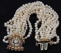 Multi Strand Pearl and Diamond Bracelet