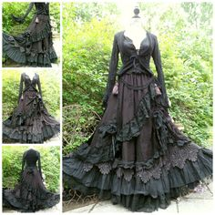 QUIRKY BUSTLE SKIRT & HITCH CLIPS FREESIZE STEAMPUNK WHITBY GOTHIC LAGENLOOK