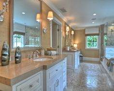 True his and hers vanity's. Love the space. love the tile.     Traditional Bathroom Bathroom Design, Pictures, Remodel, Decor and Ideas - page 4